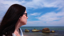 A Young Woman Looks At The Seaside stock footage