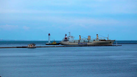 a ship arrives in port. timelapse Footage