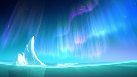 Aurora on sea loop Animation