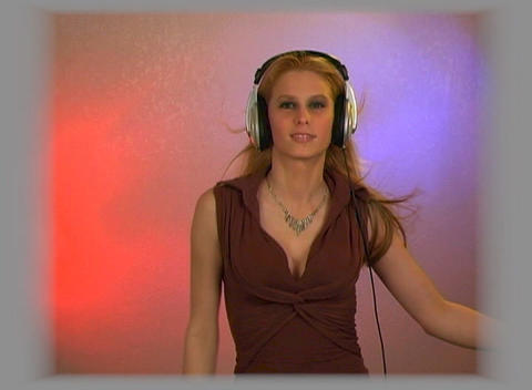 Beautiful Blonde with Headphones Stock Video Footage