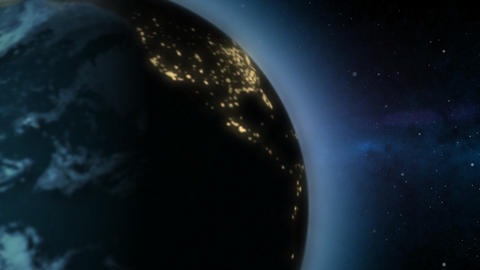 Rotating Earth changing from day to night Stock Video Footage
