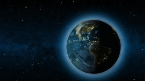 Rotating Earth changing from day to night Animation