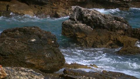heavy waves on rocks Stock Video Footage