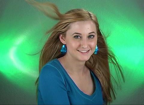 Beautiful Teenage Blonde Headshot, Slow Motion Stock Video Footage