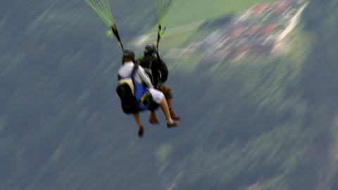 paraglider close after start Stock Video Footage