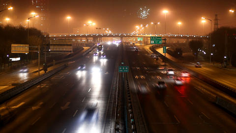 fireworks overhead the expressway Stock Video Footage