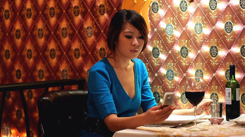 woman at dinner Stock Video Footage