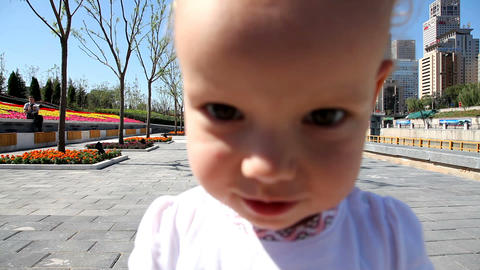baby at a park Stock Video Footage