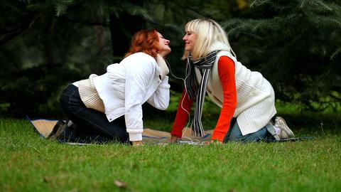women rocking to music Stock Video Footage