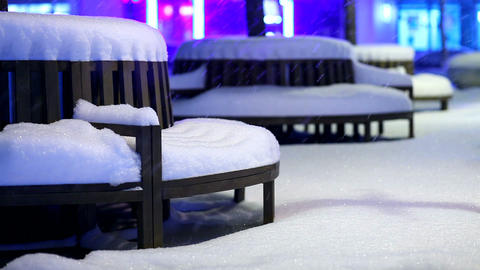 park bench covered by snow Footage