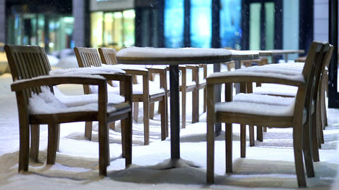 snow-covered chairs Footage