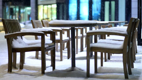 snow-covered chairs Stock Video Footage