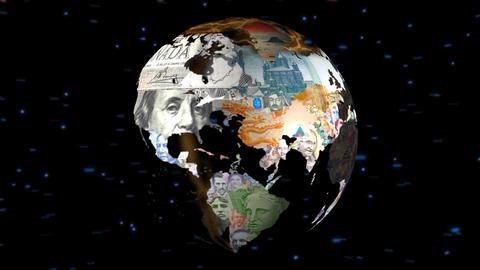Globe Middle Money & Flags Animation