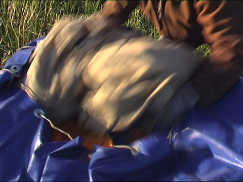 unpacking air bag Stock Video Footage