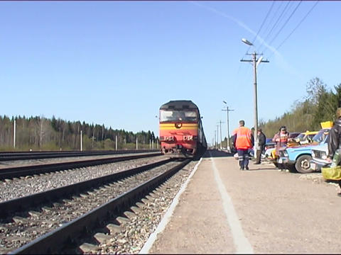 train arrives to a station Stock Video Footage