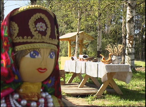 a table full of russian village utensils Footage