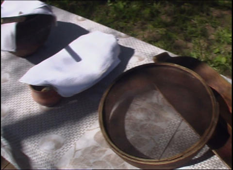 a table full of russian village utensils Stock Video Footage