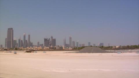 Dubai skyline pan burj emirates Stock Video Footage