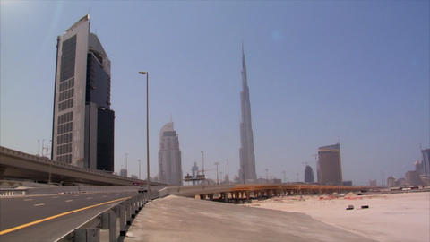 Dubai skyline pan burj emirates Footage