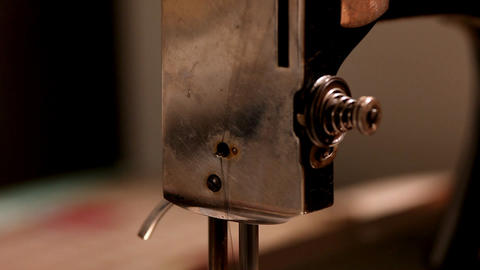Pan on stitching machine close-up Stock Video Footage