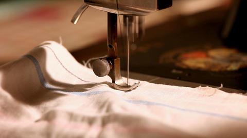 Pan on stitching machine close-up Stock Video Footage