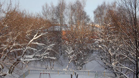 1375 Winter Pan Playground Trees HD J96 Stock Video Footage