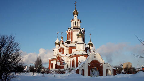Church in winter city time lapse Footage