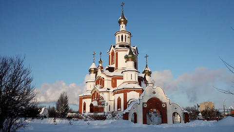 Church in winter city time lapse Stock Video Footage
