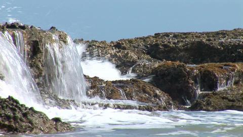 Sea Tide on Reef Rocks Stock Video Footage