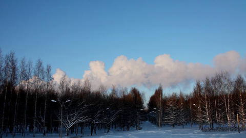 Winter park and clouscape at sunset Stock Video Footage