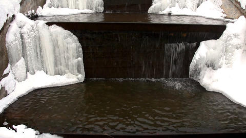 1578 Pan Winter WaterFall HD J96 Footage