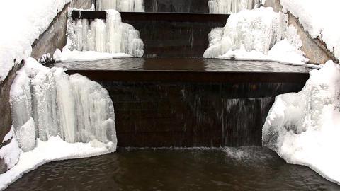 1578 Pan Winter WaterFall HD J96 Stock Video Footage