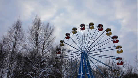 carousel in winter park and sky Footage