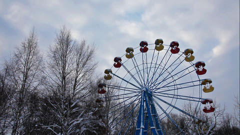 carousel in winter park and sky Stock Video Footage