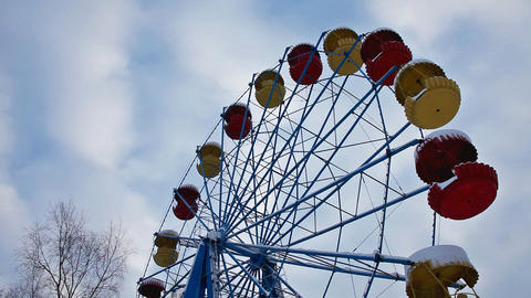 carousel and sky in winter park Stock Video Footage
