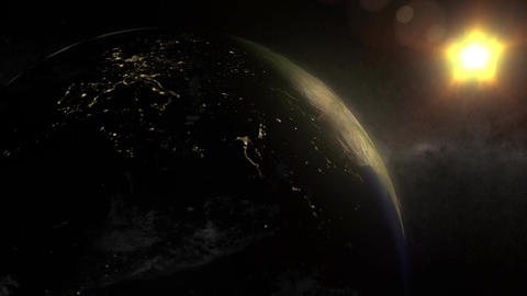 (1155) Looping animated earth, sun and space with moonlight night-side city lights Animation