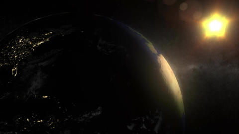 (1155) Looping animated earth, sun and space with... Stock Video Footage