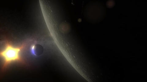 (1161) View of Spinning Moon Low Orbit Sun Space Earth... Stock Video Footage