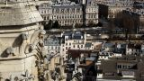 View On City From Notre Dame De Paris stock footage