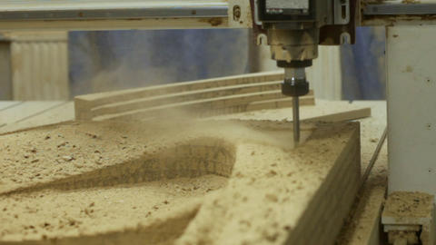 Machine drill work with wood 2 Stock Video Footage