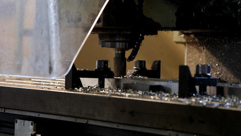 Machine drill work with metal close up 1 Stock Video Footage