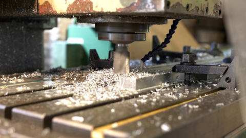 Machine drill work with metal close up 3 Footage