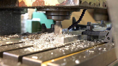 Machine drill work with metal close up 3 Stock Video Footage