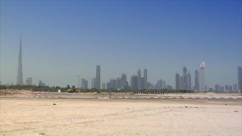 car crossing dubai skyline Stock Video Footage