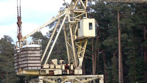 Panorama on work crane Stock Video Footage