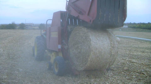 Round Baler at Dusk Footage