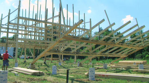 Building and Raising a Barn Stock Video Footage