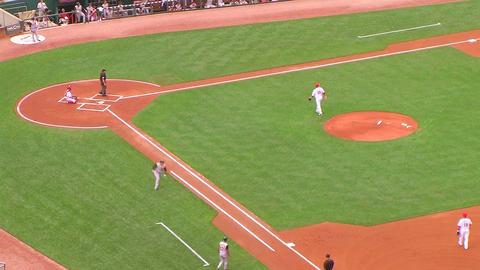 Batter Gets Base Hit 02 Stock Video Footage