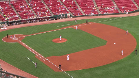 Baseball Out at First Base 05 Stock Video Footage