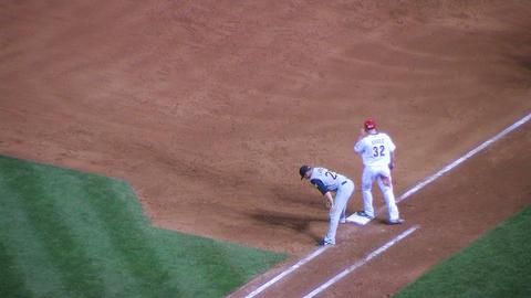 Baseball Runner Leading Off Stock Video Footage